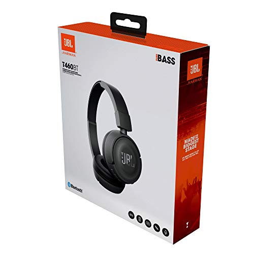 JBL T460BT by Harman, Wireless On Ear Headphones with Mic, Pure Bass, Portable, Lightweight & Flat Foldable, Voice Assistant Support for Mobiles (Black)