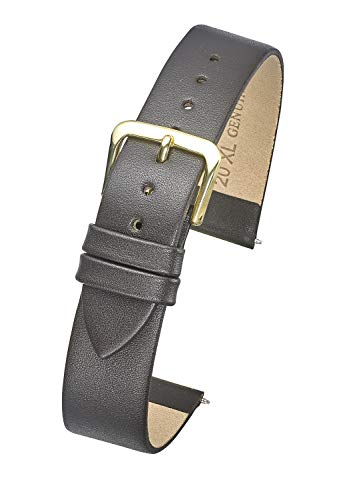 Watch Band - Flat Slim Leather Watch Strap in Extra Long Length for Wider Wrists ONLY- Brown- 14XL (fits Wrist Sizes 7 1/2 to 9 inch) ()