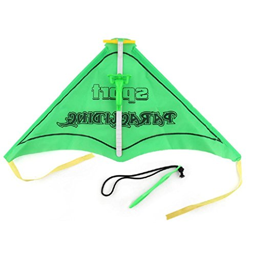 Livoty Kids Paragliding Flying Hang Glider Set Launch Catapult Slingshot Outdoor Toy (green)