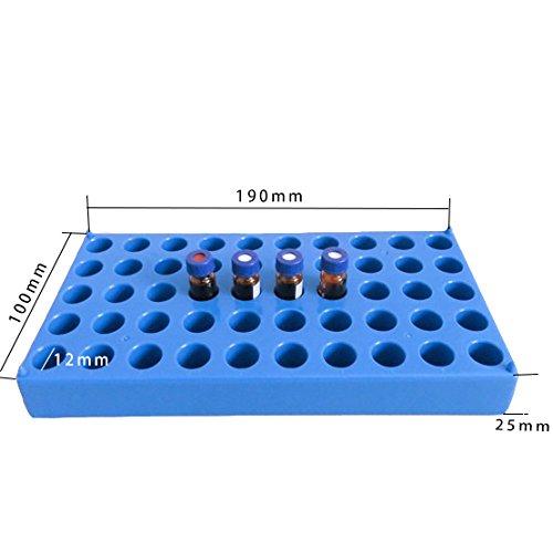 (2 Packs) Vial Rack, Single Blue Holds 50 Standard 12 mm 2 mL vials, Stackable Tube Rack Centrifuge Tubes Rack