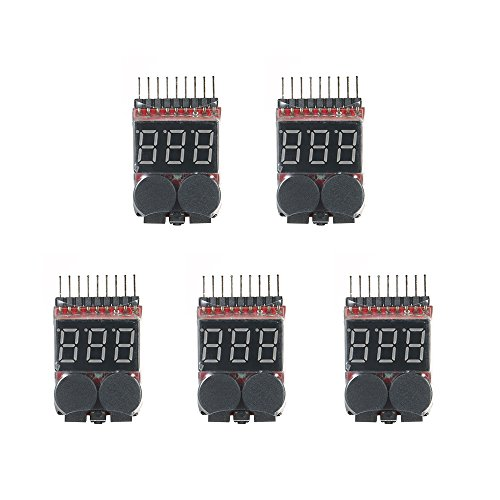 Price comparison product image Walmeck 5pcs RC Lipo 2 in 1 Battery Voltage Tester Battery Checker Voltmeter