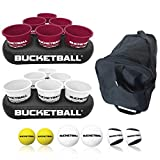 BucketBall - Team Color Edition - Party Pack (Maroon/White): Original Yard Pong Game: Best Camping, Beach, Lawn, Outdoor, Family, Adult, Tailgate Game
