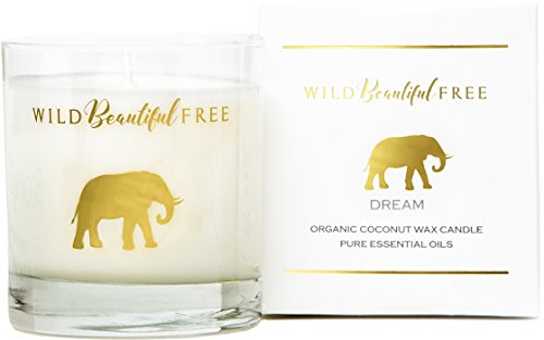 Lavender and Vanilla Organic Aromatherapy Candle with Pure Essential Oils for Stress Relief and Sleep - Dream Elephant Luxury Candle by Wild Beautiful Free