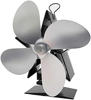 Ventilador De Chimenea Silencioso Ecológico, Ventilador Estufa De 4 Aspas Para Un Espacio Grande En El Registro/Estufa De Leña/Estufa/Chimenea,Gris: Amazon.es: Hogar