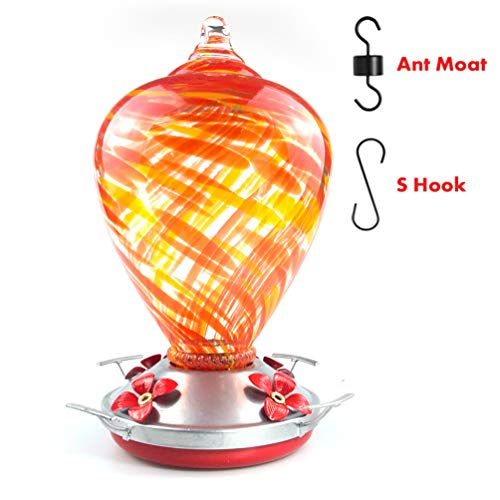Muse Garden Hummingbird Feeder for Outdoors, Hand Blown Glass, 34 Ounces, Containing Ant Moat, Daylight