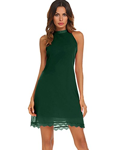Kancystore Sleeveless Dresses for Women, Halter Open Back Lace Trim Short Shift Dress (Dark Green, S) (Dress Halter Sleeveless Shift)