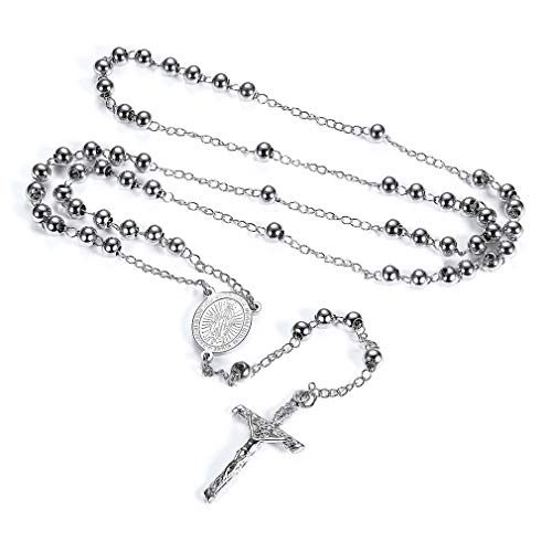 FaithHeart Rosary Beads Catholic Necklace, Holy Soil Virgin Mary Medal with Cross Crucifix Pendant, 6MM Beads, 28 Inches Chain, 6.7 Inches Pendant (Silver) (Silver Rosary Beads)