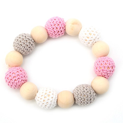 Kocome Baby Wooden Crochet Nursing Toy Teething Bead Colorful Bracelet Hand Made (7)