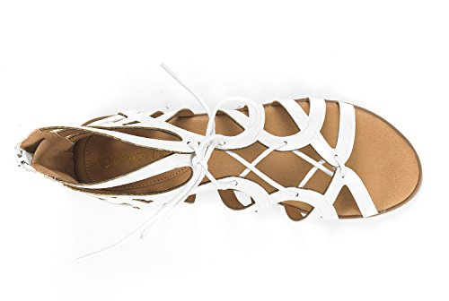 Women's Gladiator Open Flat Toe Cesar DREAM White PAIRS Sandals xXUO55