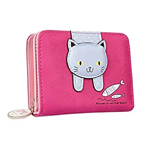 Girls Wallet Cute Cat Wallet Cat Pattern Purse Coin Card Holder Zipper Wallet (Rosy)