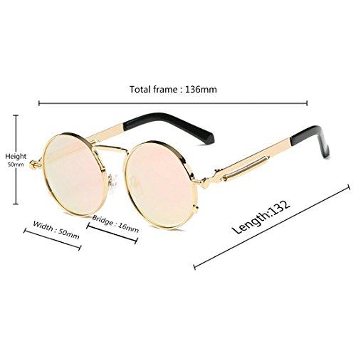 Oro redondas de Vintage sol Gafas Powder para Barbie mujeres Retro Gafas hombres y Gafas Gafas Huicai 5wqOwA