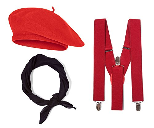 French Costume Kit, Red Beret, Red Suspenders, Black -