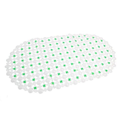 uxcell Green Clear Oval Shaped PVC Nonslip Bathroom Floor Shower Tub Bathtub Mat 26 Inches x 14.6 Inches