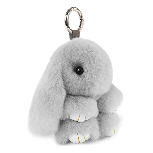 CHMIING Bunny Keychain Soft Cute Rex Rabbit Fur Keychain Car Handbag -