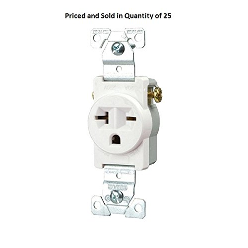 Eaton 1876W-Box Commercial Straight Blade Single Receptacle with 20A, 250-Volt Rating (50)