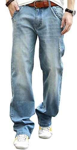 569 Loose Straight Fit Jeans - YOYEAH Men's Big and Tall Relaxed Fit Jean Comfortable Loose Relaxed Straight Leg Jeans Nostalgic Blue 38