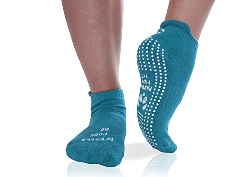 Non-Slip No-Skid Yoga Socks With Grips Pilates Barre Hospital Rehab Grip Socks with Sticky Soles & Full Toe (Turq)