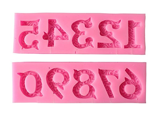 Alphabet Number 0-9 3d Silicone Mold Birthday Silicone Sugarcraft Mold Chocolate Fondant Candle Mold Cake Decoration for Baby Shower,Birthday,Anniversary
