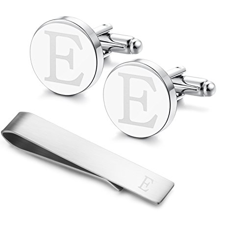 Bar Steel Stainless Link (Classic Engraved Initial Cufflinks and Tie Clip Bar Set Alphabet Letter Formal Business Wedding Shirts E)