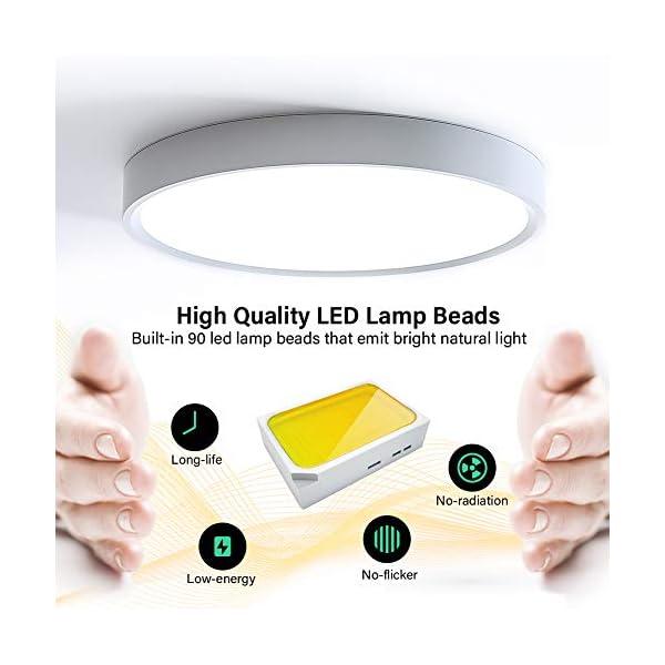 Plafoniere da Soffitto, 18W 2300lm LED Lampada Tondo Sottile Plafoniera per Cucina, Bagno, Camera da Letto, Corridoio… 3 spesavip