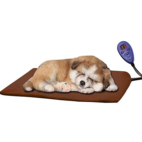 Babypet Pet Heated Pad Waterproof Electric Heating Bed Cushion Warmer Mat Cats, Rabbits, Small Medium Dogs Temperature Controller Chew Resistant Steel Cord, 40X30cm (Brown)