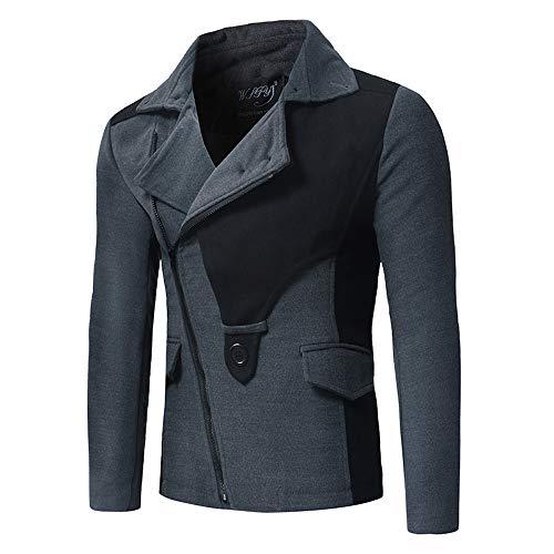 iYYVV Mens Autumn Winter Fashion Slanted Zipper Colorblock Windbreaker Coat Jacket Gray