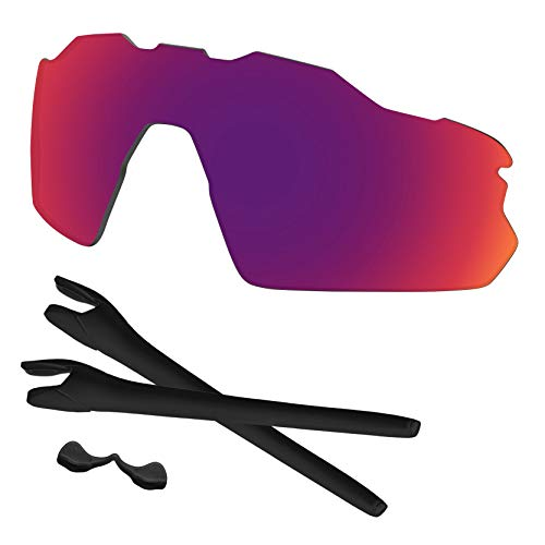 Predrox Midnight Sun Mirror Radar EV Pitch Lenses & Rubber Kits Replacement for Oakley Polarized ()