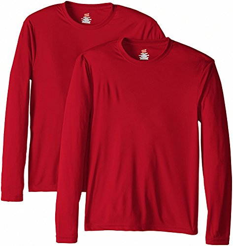 Hanes Men's Long Sleeve Cool Dri T-Shirt UPF 50+, X-Small, 2 Pack ,Deep Red