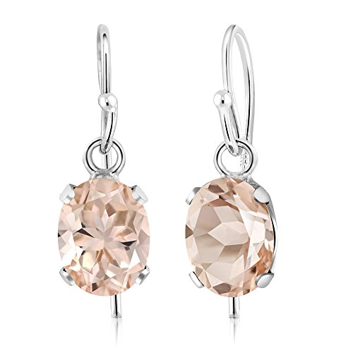 - 925 Sterling Silver Oval Peach Morganite Gemstone Earrings 1.30 Ctw