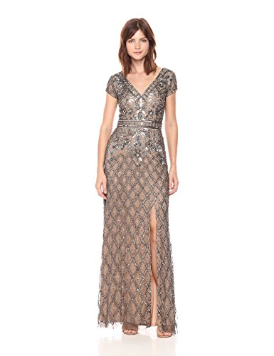 adrianna papell women's v neck short sleeve beaded deco gown - 41ugM38bTLL - Adrianna Papell Women's V Neck Short Sleeve Beaded Deco Gown