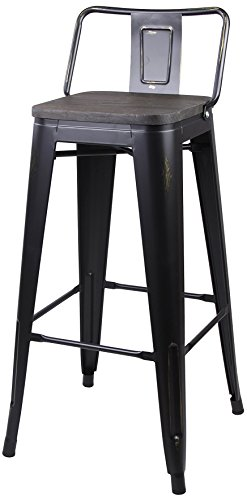 GIA B06WGNPMP1 Low Back Metal Bar Stool with Wooden Seat, Antique Black - Backless Industrial Stool Low Base