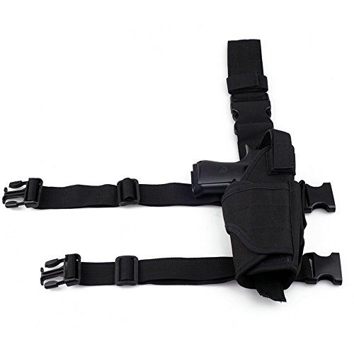 Adjustable Hunting Right Handed Leg Holster Tactical Waterproof Airsoft Pistol Gun Drop Leg Thigh Holster (Black)