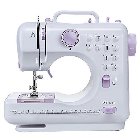 Máquina de coser -12 tipos de puntadas, pedal eléctrico de doble uso, función de patchwork, costura de botones, cremallera, costura cilíndrica, ...