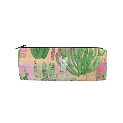 KUWT Pencil Bag Watercolor Animal Llamas Cactus, Pencil Case Pen Zipper Bag Pouch Holder Makeup Brush Bag for School Work Office by KUWT