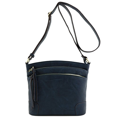 Triple Zip Pocket Medium Crossbody Bag Navy Blue