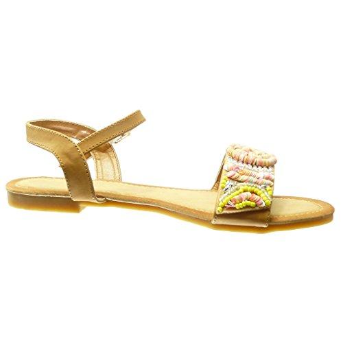 Angkorly - Zapatillas de Moda Sandalias mujer joyas trenzado Talón Tacón ancho 1.5 CM - Camel