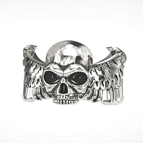 EEJART 925 Sterling Silver Men & Women Adjustable Gothic Angel Wings Skull Ring, the Premium Fashion Forward Band Ring - Wings Angel Gothic