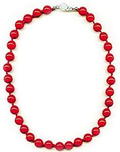 Collar de 45 cm compuesto de perlas de coral rojo de 10 mm