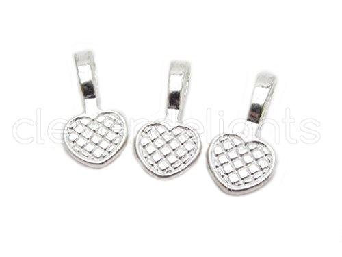 Heart Bail Pendant (50 CleverDelights Heart Bails - 20x10mm - Shiny Silver Color - Medium Glue On Bails - Scrabble Glass Pendants Craft Heart Bails - 3/4 x 3/8 inch 20mm x 10mm)