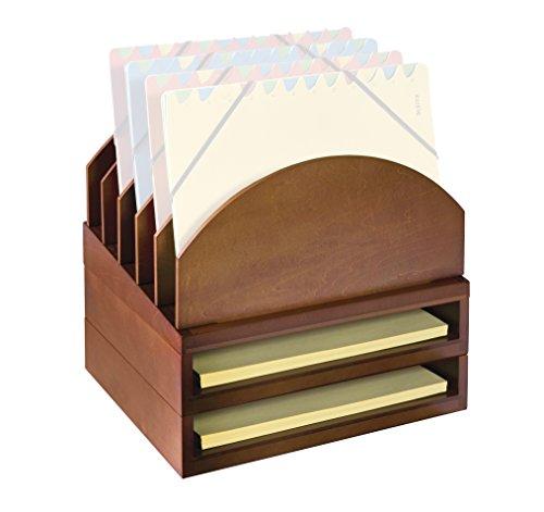 UPC 740016080169, Bindertek Stacking Wood Desk Organizers Step Up File & 2 Tray Kit, Cherry (WK2-CH)