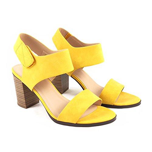 Dress Yellow Sandals (Wait Womens Open Toe Chunky Heel Ankle Strap Shoes Block High Heel Dress Sandals (7.5 M US, Yellow))