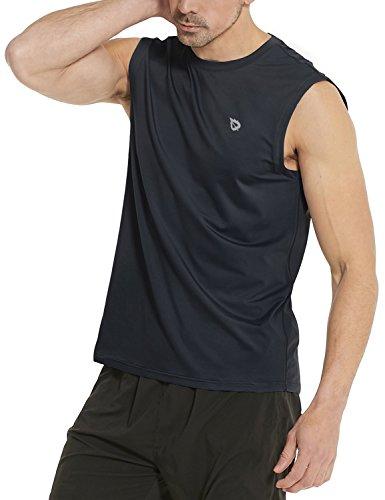 (Baleaf Men's Performance Quick-Dry Muscle Sleeveless Shirt Tank Top Black Size M)