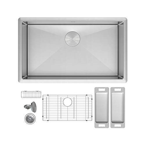 "ZUHNE Modena 30 Inch Single Bowl Under Mount 16 Gauge Stainless Steel Kitchen Sink W. Grate Protector, Caddy, Colander Set, Strainer and Mounting Hardware, Fits 33"" Cabinet"