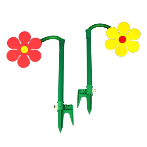 2-Funflower-Sprinklerblumen-Rasensprenger-rot-und-gelb