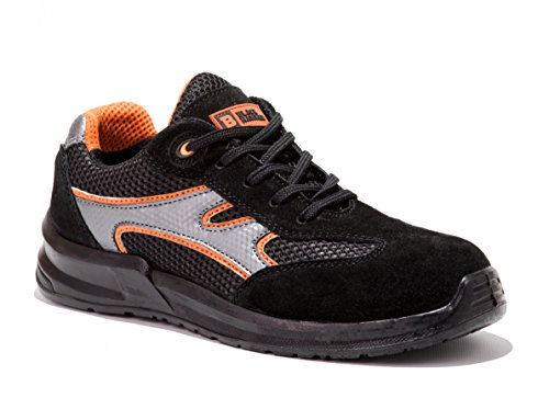 Zapatillas de seguridad laboral de hombre Zapatos de trabajo ultraligeros con puntera de acero 5553 Black Hammer escaladoras tobilleras Negro
