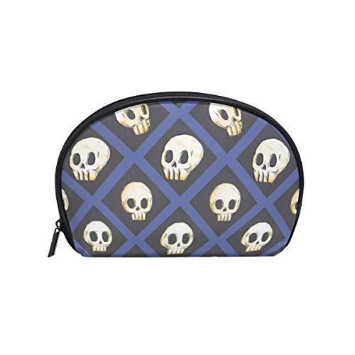 (Half Moon Cosmetic Beauty Bag Halloween Skulls Travel Handy Organizer Makeup Pouch for Women)