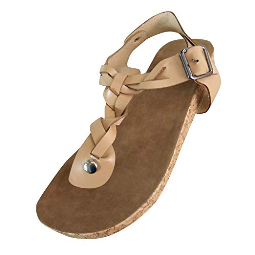 Women Flat Wedge Sandals Clip Toe Ankle Buckle Strap Cutout Roman Open Toe Shoes (US:9, Beige)