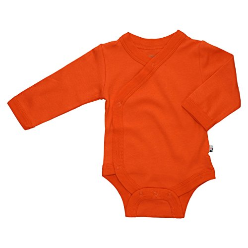 Babysoy Organic Long Sleeve Modern Solid Kimono Bodysuit/Onesie (0-3 Months, Persimmon) ()