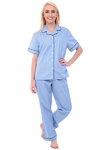 Stripe Woven Pajama Top (Alexander Del Rossa Womens Cotton Pajamas, Woven Pj Set with Pants, Large Stripes on Blue, Piping (A0518B15LG))