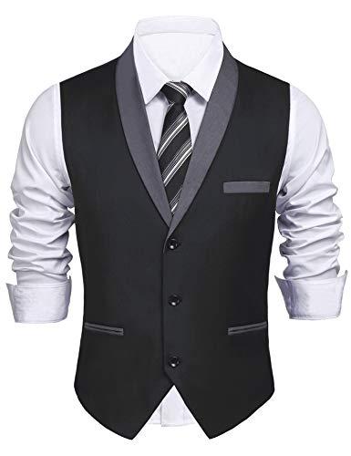 Daupanzees Men's V-Neck Sleeveless Slim Fit Vest Jacket Hipster Fashion Single-Breasted Business Suit Dress Vests (Black XXL)
